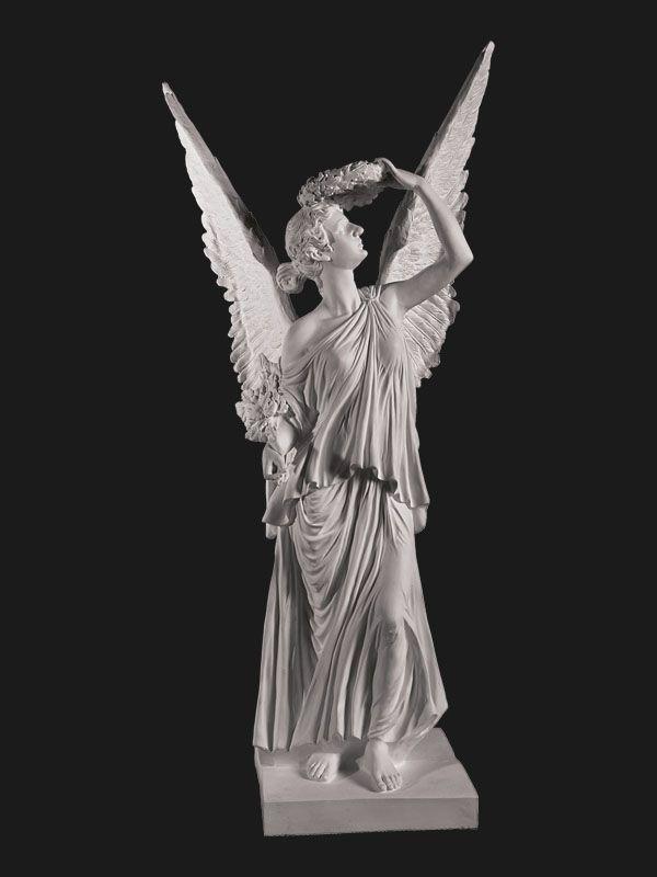 Скульптура из Литьевого мрамора №039 Ангел стоящий с крыльями.